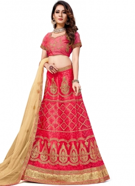 Aristocratic Net Rose Pink Stone Work Trendy Lehenga Choli