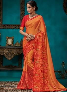 Aristocratic Orange Poly Silk Traditional Designer Saree