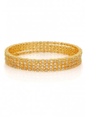 Arresting Gold Rodium Polish Brass Bangles For Party