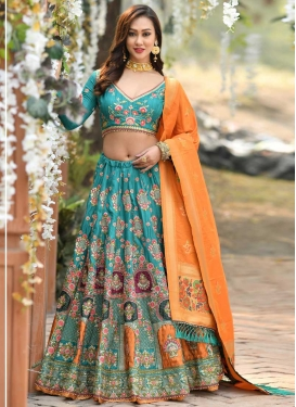 Art Silk A Line Lehenga Choli For Bridal