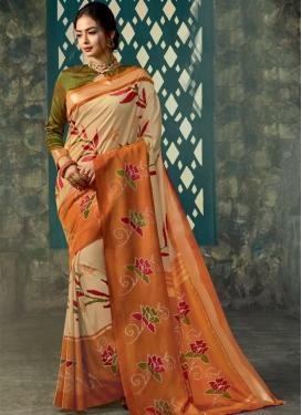 Art Silk Abstract Print Work Contemporary Saree