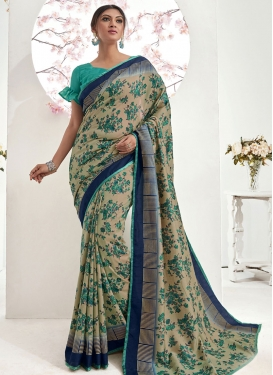 Art Silk Abstract Print Work Designer Contemporary Saree