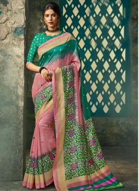 Art Silk Abstract Print Work Pink and Sea Green Traditional Designer Saree