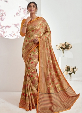 Art Silk Abstract Print Work Traditional Saree