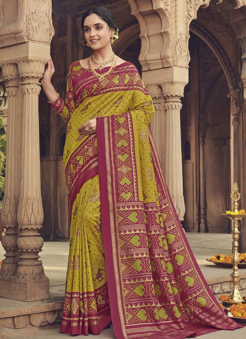 Art Silk Aloe Veera Green and Crimson Digital Print Work Traditional Designer Saree