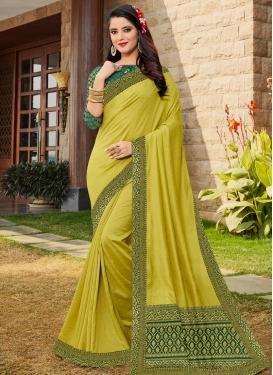 Art Silk Aloe Veera Green and Green Trendy Designer Saree