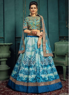 Art Silk Aqua Blue and Blue Trendy A Line Lehenga Choli