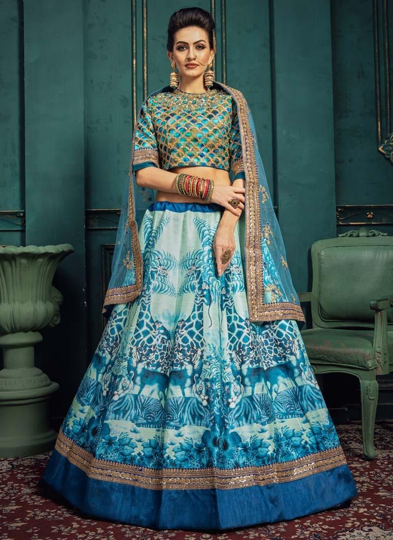 Art Silk Aqua Blue and Blue Trendy A Line Lehenga Choli