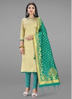 Art Silk Aqua Blue and Cream Woven Work Trendy Churidar Suit