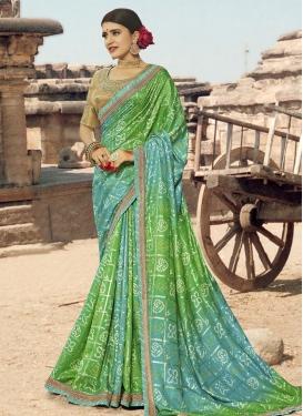 Art Silk Aqua Blue and Green Designer Traditional Saree For Ceremonial