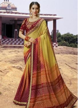 Art Silk Bandhej Print Work Trendy Classic Saree
