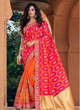 Art Silk Beads Work Orange and Rose Pink Half N Half Saree