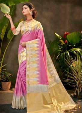 Art Silk Beige and Hot Pink Designer Traditional Saree