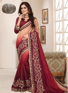 Art Silk Beige and Maroon Beads Work Contemporary Style Saree