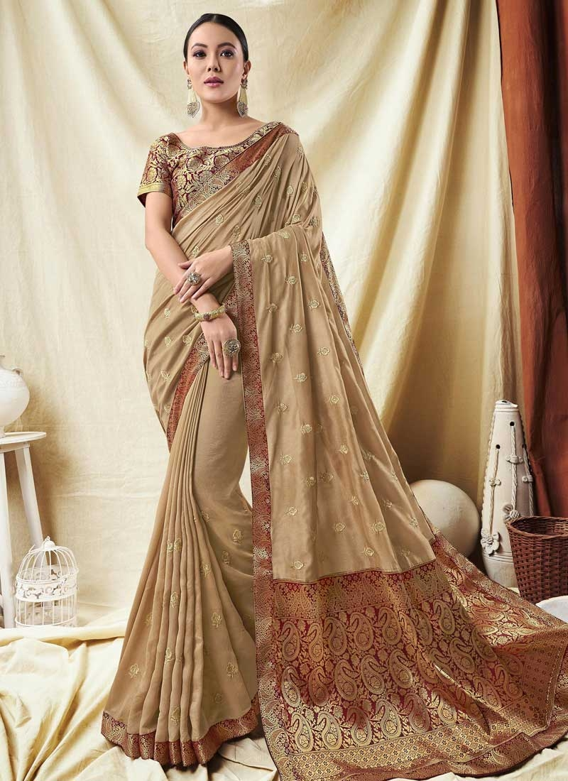 Art Silk Beige and Maroon Traditional Saree