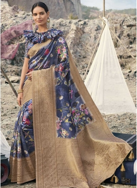 Art Silk Beige and Navy Blue Contemporary Style Saree For Festival