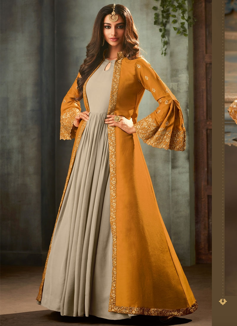 Art Silk Beige and Orange Jacket Style Floor Length Suit