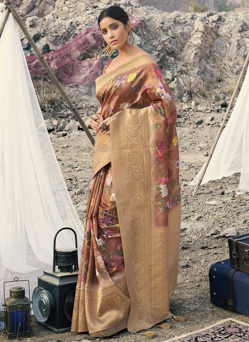 Art Silk Beige and Peach Digital Print Work Designer Traditional Saree