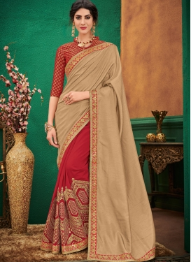 Art Silk Beige and Red Designer Half N Half Saree