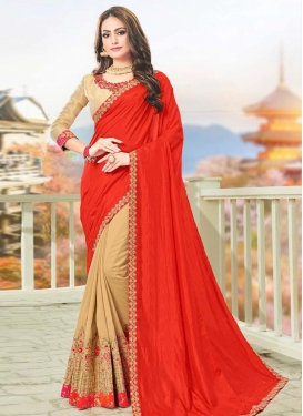Art Silk Beige and Red Embroidered Work Half N Half Trendy Saree