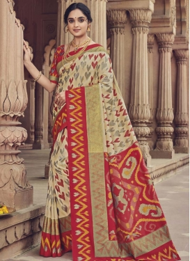 Art Silk Beige and Red Traditional Designer Saree For Casual