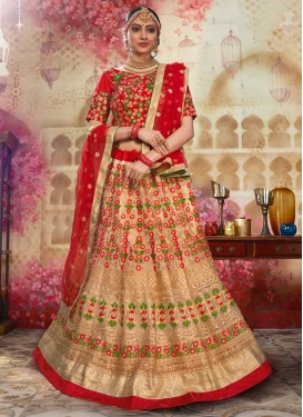 Art Silk Beige and Red Trendy Lehenga Choli