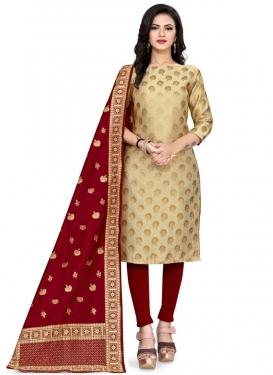 Art Silk Beige and Red Woven Work Trendy Straight Salwar Kameez