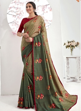 Art Silk Beige and Sea Green Trendy Designer Saree