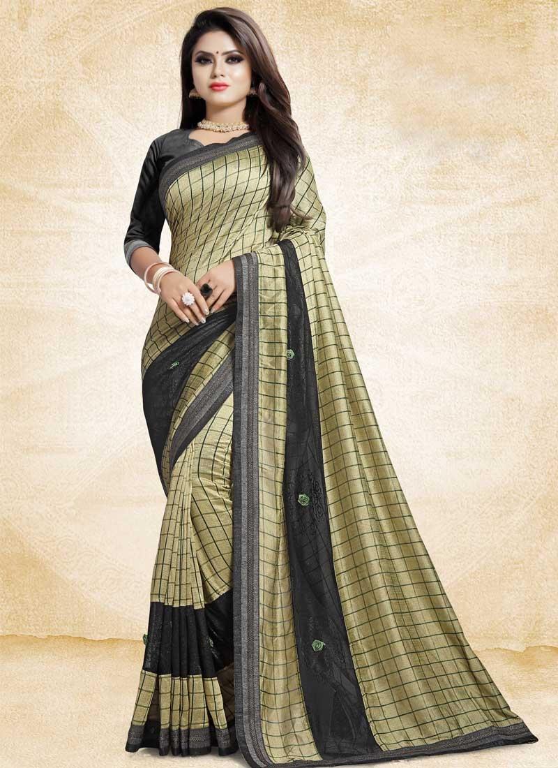 Art Silk Black and Cream Lace Work Designer Contemporary Saree
