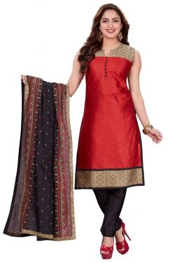 Art Silk Black and Maroon Lace Work Readymade Churidar Salwar Kameez