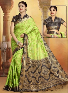 Art Silk Black and Mint Green Designer Traditional Saree For Casual