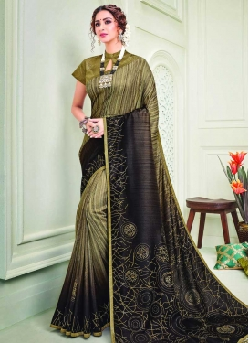 Art Silk Black and Olive Print Work Designer Contemporary Saree