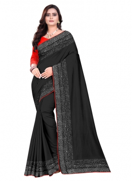 Art Silk Black and Orange Traditional Designer Saree For Ceremonial