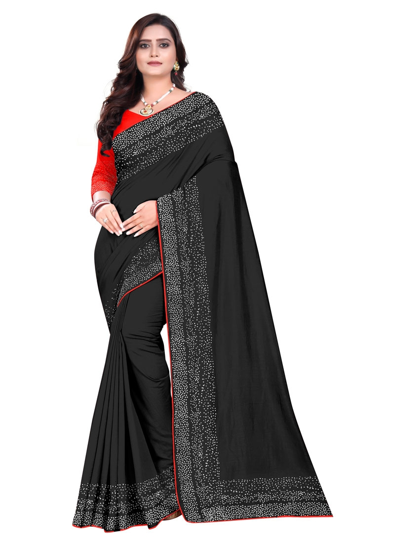 Art Silk Black and Orange Traditional Designer Saree For Ceremonial