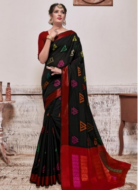 Art Silk Black and Red Designer Contemporary Style Saree