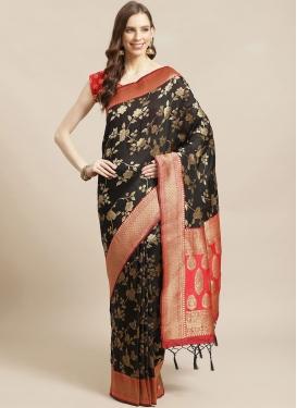 Art Silk Black and Red Designer Contemporary Style Saree