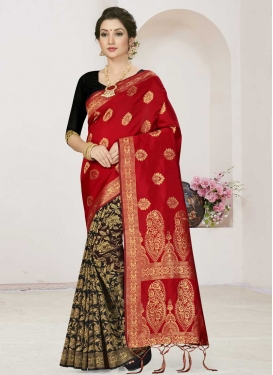 Art Silk Black and Red Half N Half Designer Saree