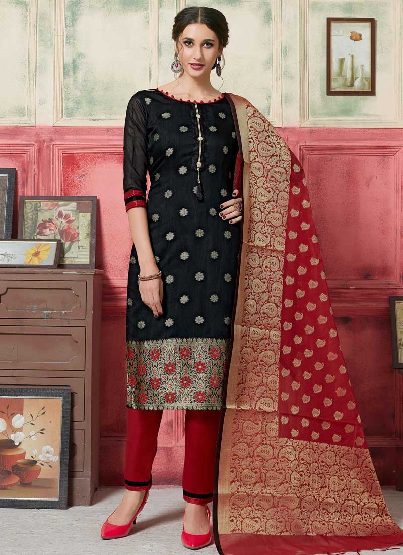 Art Silk Black and Red Pant Style Designer Salwar Suit