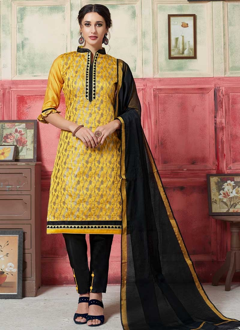 Art Silk Black and Yellow Lace Work Pant Style Classic Suit