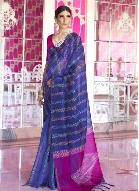 Art Silk Blue and Fuchsia Woven Work Trendy Classic Saree