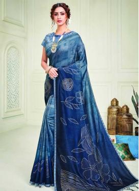 Art Silk Blue and Light Blue Trendy Classic Saree