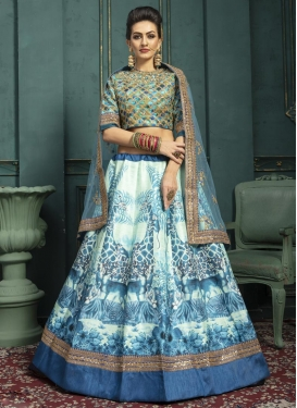 Art Silk Blue and Off White Digital Print Work A - Line Lehenga