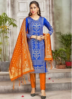Art Silk Blue and Orange Woven Work Pant Style Classic Salwar Suit