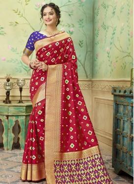 Art Silk Blue and Red Designer Contemporary Style Saree