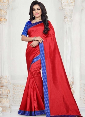 Art Silk Blue and Red Lace Work Classic Saree