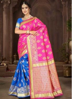 Art Silk Blue and Rose Pink Half N Half Saree For Festival