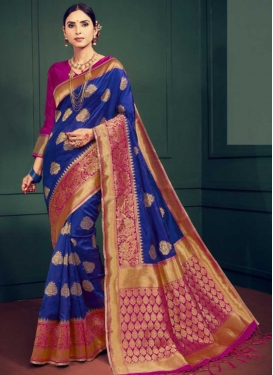 Art Silk Blue and Rose Pink Thread Work Designer Contemporary Saree