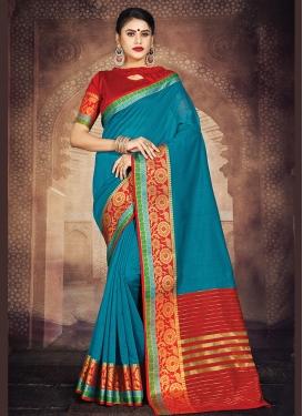 Art Silk Blue Weaving Casual Saree