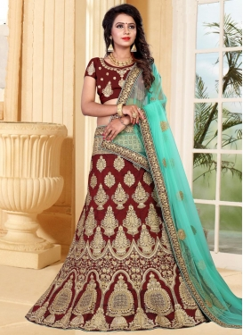 Art Silk Booti Work A Line Lehenga Choli