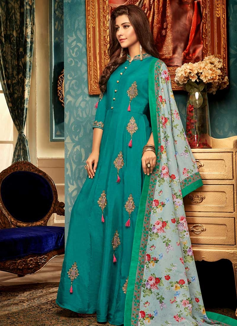 Art Silk Booti Work Readymade Designer Gown